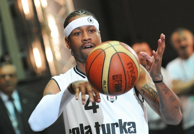 Former NBA star Allen Iverson plays with a ball during a ceremony to celebrate his new contract with Turkish basket ball club Besiktas on November 9, 2010 in Istanbul . Eleven-time NBA all-star and former scoring champion Iverson arrived in Istanbul the day before after signing a two-year contract of 4 million USD with the Turkish club in New York on October 29. AFP PHOTO/BULENT KILIC (Photo credit should read BULENT KILIC/AFP/Getty Images)